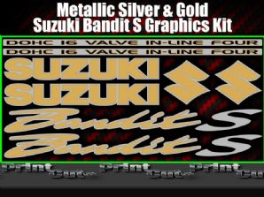 Suzuki BANDIT S Silver & Gold Sticker Set GSF 600 650 750 1200 K1 k2 8 piece kit